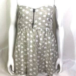 Fox Strapless Top Polka Dots Zipper Front
